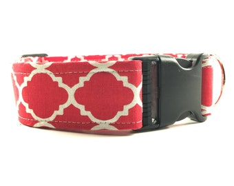 Red and White Rounded Quatrefoil Dog Collar - Buckle or Martingale