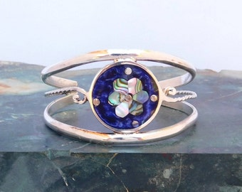 "Mexico Alpaca Silver 5-7/8"" Childs Vintage Cuff Bracelet Abalone Shell Purple Enamel Inlay T43"