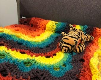 Rainbow virus pattern blanket
