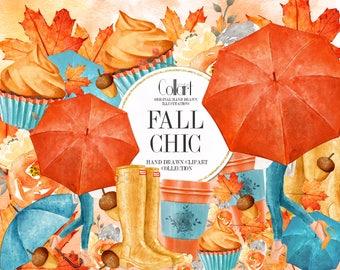 Fall Clipart Autumn Clipart Fashion Illustration, Fall Fashion, Fall Watercolor Illustrations, Autumn Iluustrations, Autumn Planner Stickers