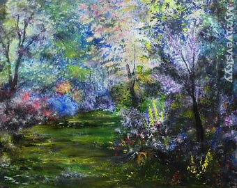 Flowers in the Forest Wall Art, Large Beautiful Forest Oil,  Colorful Trees Painting on Canvas,  Size: 20'' x 24'' (50cm x 60cm)