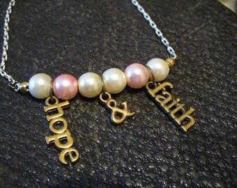 Hope and Faith Bracelet, Pink and White Pearl Bead Bracelet, Toggle Bracelet, Hope and Faith Charm Bracelet, Faith, MarjorieMae