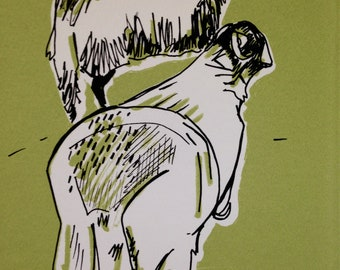 Two Sheep, Troutbeck. Original Hand Pulled Screen-print, Made in Yorkshire, Original Art