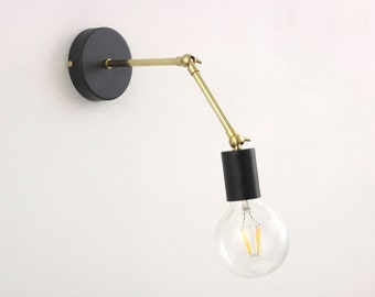 Brass Modern Adjustable Wall Lamp with Black lamp holder cover