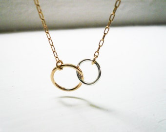 Silver and Gold Rings Necklace, Linked Circles Necklace, Mixed Metal, Wedding, Valentines Day, Mother Daughter, Sisters, Best Friends Gift