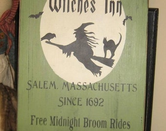 Olde Salem Witches Inn Primitive Witch WICCAN Halloween Sign Wood Wall Decor