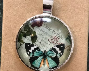 25mm butterfly cabochon glass dome pendant
