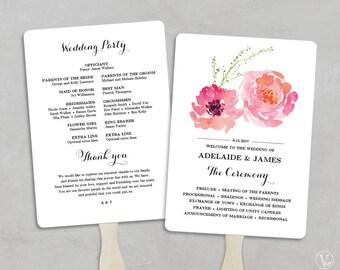 Printable Wedding Program Fan Template, Wedding Fans, DIY Wedding Programs, Editable text, 5x7, Pink Peony, VW13