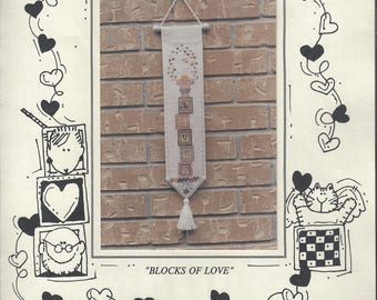"""Clearance - """"Blocks of Love"""" Counted Cross Stitch Chart by Mosey 'n Me"""