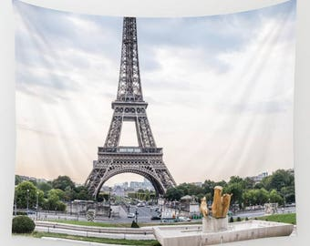 Paris Wall Tapestry, Eiffel Tower Wall Art, Dreamy Cityscape Photo Tapestry, Living Room Wall Art, Paris Photography, Travel Art
