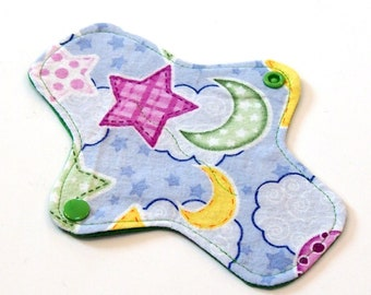 7 inch Reusable Cloth winged ULTRATHIN Pantyliner - Cotton flannel top - Night Sky