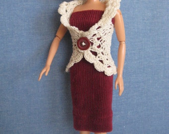 Handmade Barbie Doll Clothes, Barbie Dresses, Barbie Clothes, Burgundy Dress, Tan Sweater, also fits new Tall,  Curvy, and Petite Barbie