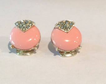 Elegant Pink Cabochons with Clear Rhinestone accent Clip on Earrings, 1960s jewelry, Wedding jewelry, Mother's Day, Gift, Button Earrings