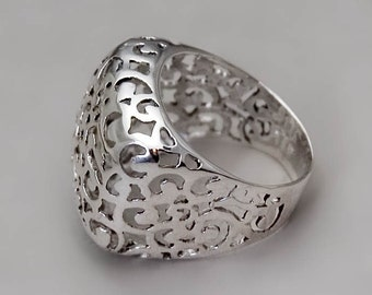 Chunky Silver Ring, Lrage Ring, Sterling Silver Filligree Ring, Lace Ring, Boho Ring, Oriental Ring, Wide Statement Ring, Gold, Rose Gold