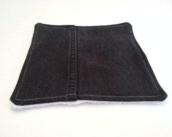 Black Hot Pad /  Upcycled Denim Pot Holder / Dish Rag / Repurposed Denim Patchwork / Plush ORGANIC Terry Cloth / Eco Friendly Gift