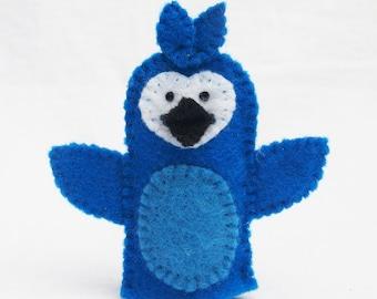 Blue jay, bird, bird felt finger puppet, animal puppet, storytime puppet