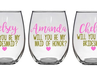 Bridesmaid proposal gift, will you be my bridesmaid wine glasses, Asking Bridesmaids