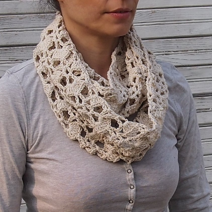Infinity Scarf Crochet Pattern Woman Circle Scarf Lace Loop Scarf