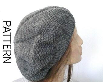 Beret  Knitting Pattern  Instant download Knitting Pattern  French Hat  Beret Knitting Pattern , Digital download   Women hat Pattern