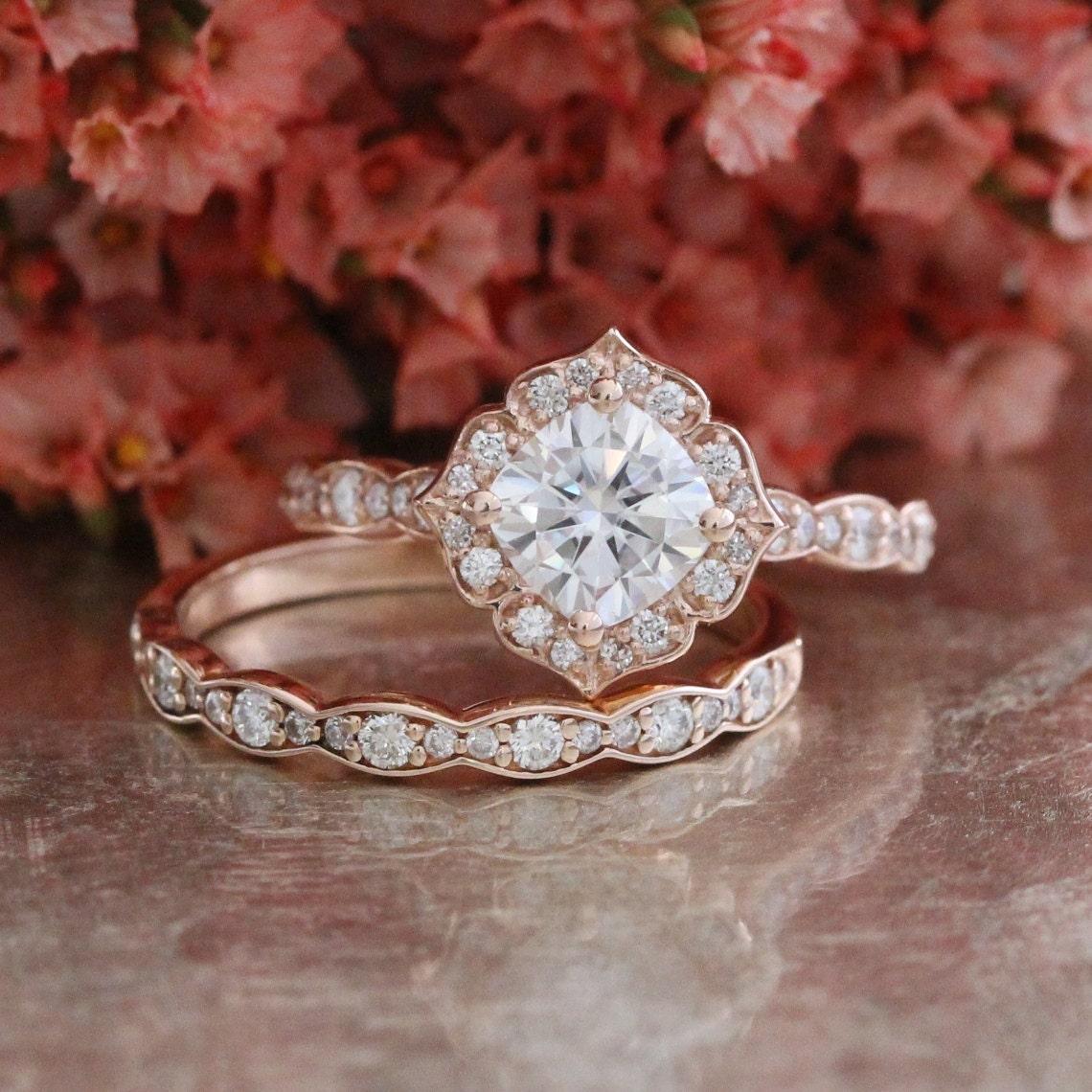 Forever One Moissanite Engagement Ring and Scalloped Diamond