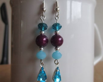 Reflective Blue and Purple Dangle Earrings