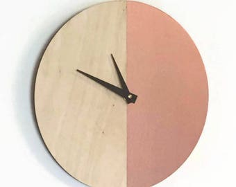 Wall Clocks, Rose Gold Wall Clock, Wood Clock, Home and Living, Wall Clocks, Home Decor