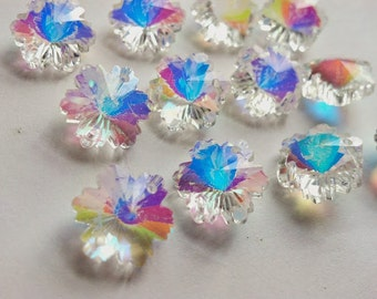50 Chandelier Crystal 14mm Iridescent AB Snowflakes Beads Shabby Chic Prisms