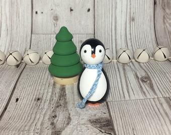 Christmas penguin wooden peg doll decoration