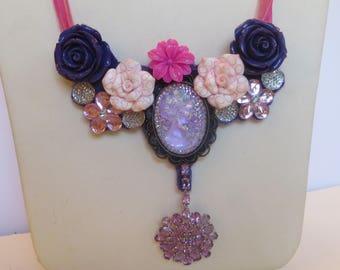 "Hand Made Shabby Chic Ribbon Bib Necklace PURPLE CAMEO Theme w Amethyst Enhancer 18"""