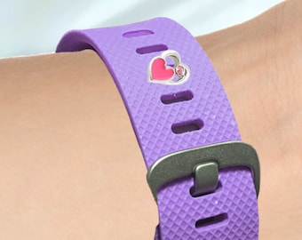 Fitness-Watch Charm, Pink Heart Charm; Personalize your watchband with style and flair. Fitbit Jewelry, Fitbit Charm