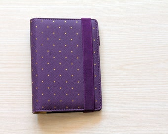 Personal planner binder, planner organizer, purple and gold planner, A6 planner in leatherette