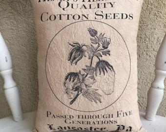 Cotton Seeds Feedsack Accent Pillow