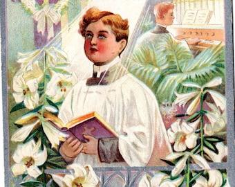 Easter vintage postcard, Easter Vintage Greetings Postcard Choir boy, lilies