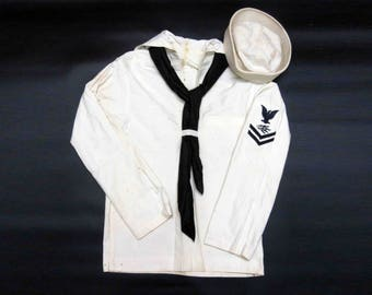 "Vintage WWII U.S. Navy White Jumper with Neckerchief and Hat ""Dixie Cup"". Circa 1940's."