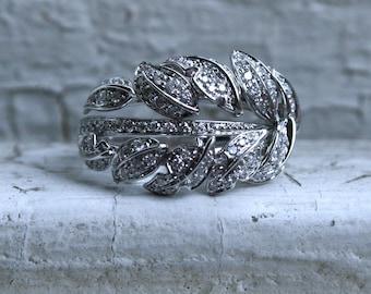 RESERVED - Vintage Leafy 18K White Gold Diamond Wedding Ring Band.