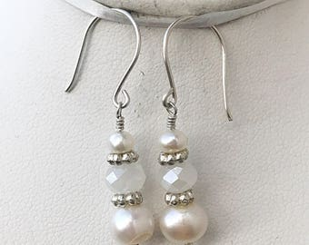 Freshwater Pearl Earrings, Bridal Jewelry, Bridesmaid Jewelry, June Birthstone Jewelry