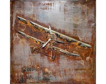 Antique Airplane Metal Wall Art