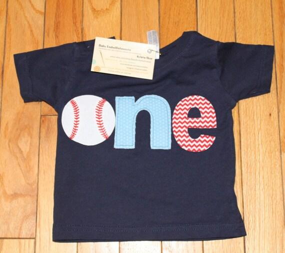 1st birthday baseball shirt, boys first birthday baseball shirt, Sports birthday theme shirt, light blue, small red chevron navy blue shirt