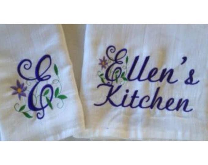 Personalized Grandma gift, Kitchen towel, personalized embroidery, kitchen towels, dish towels, personalized towels, flour sack towels,