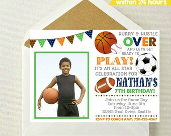 Sports Photo Invitation // Sports Invitation // All Star Invitation // Sports Birthday Party // Basketball // Football // Soccer // Baseball