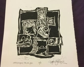 Abstract wood block print