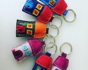 Leather Home Key Chain, Colorful House, Housewarming Gift, Bag Accessory, Key Fab