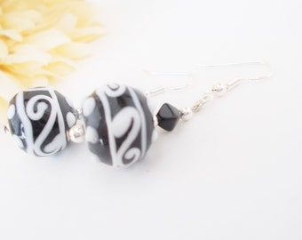 Black White Earrings, Glass Drop Earrings, Birthday Gift for Her, Clip On Earrings Dangle, Art Deco Jewelry, Hypoallergenic, Gift for Sister