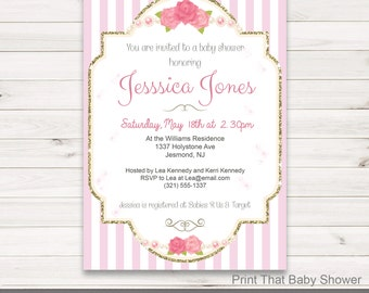Baby Shower Invitation - Pink and Gold Baby Shower - Printable Invitation - Baby Shower Invites - Pink and Gold Invitation - Pink and Gold