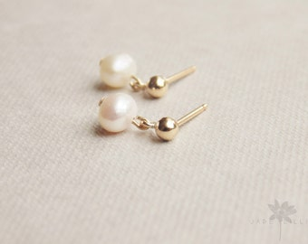 Small white freshwater pearl 14k gold filled studs drop dangle earrings bridesmaid gift