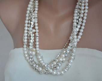 Freshwater Pearl and Swarovski Crystal Necklace Bridal Accessory, brides necklace