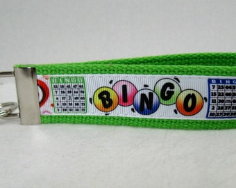 BINGO Key Fob - BINGO Key Chain - Bingo Lover Gift - Bingo Key Ring - LIME Green