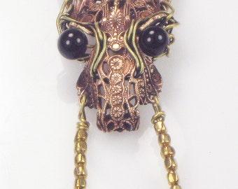 Big Bad Wolf VooDou Talisman - Magik Spell VooDoo Witchcraft Wolf Necklace - Bronze - Copper - Black Onyx Eyes -  VooDou Wolf Necklace Gift