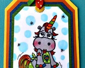 1494 Unicorn Hippo Digi Stamp