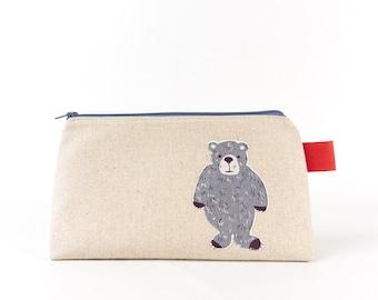 Large Animal Wash Bag, Bear Bag, Cute Cosmetic Bag, Woodland Animal, Makeup Bag, Best Friend Birthday Gift for Guys